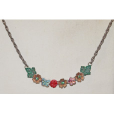 Flower Garland with Leaves Handpainted Necklace No. n19114