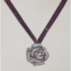 Rose in Black with Rheinstones Necklace No. n19118