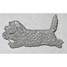 Petit Basset Griffon Vandeen Running with Price Rosette Brooch No. b15035