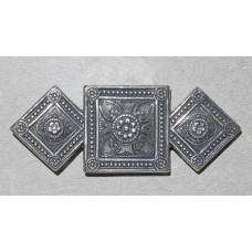 Squares with Medieval inspired Pattern Antique silver Brooch  No. b17004
