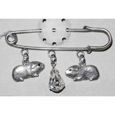 Guinea Pigs with Crystal Drop Brooch No. b19001