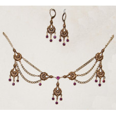 Oriental Flower Baskets with Amethyst Colored Crystals Jewelry Set No. s05068