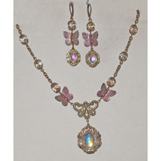 Butterflies with Shimmering Wings Hand Painted Jewelery Set No. s06024