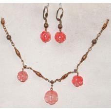 Flowers in Cherry Quartz  Jewellery Set No. s06078