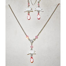 Rabbits with Pink Crystal Jewelery Set No. s09015 - Bunny Jump
