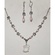 Rabbits with Light Pink Pearls Jewelery Set No. s10021