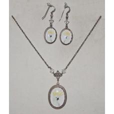 Yellow-crested Cockatoo Cameo Jewelery Set No. s11021 - Parrot Jewelery