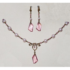 Art Deco Jewelry Set with Pink Crystal and Pearls No. s14024