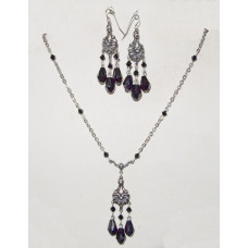 Drops in Black Crystal under Ornamented Connector Jewelery Set No. s15006