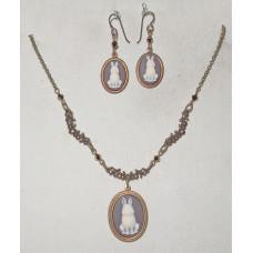 Rabbits on Brown Cameo Jewelery Set No. s18007