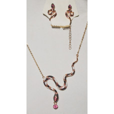 Snake Jewelry Set Gold-Plated with Pink Crystals No. s19011
