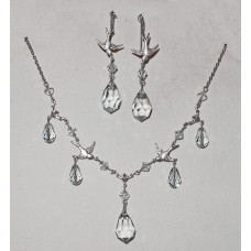 Swallows with Light Blue Crystals Jewelery Set No. s19016